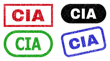 CIA grunge seal stamps. Flat vector grunge seal stamps with CIA title inside different rectangle and rounded forms, in blue, red, green, black color versions. Rubber imitations with grunge surface. Vectores