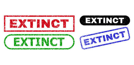EXTINCT grunge seals. Flat vector textured seals with EXTINCT slogan inside different rectangle and rounded forms, in blue, red, green, black color versions. Imprints with grunge surface.