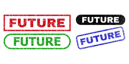 FUTURE grunge stamps. Flat vector textured seal stamps with FUTURE title inside different rectangle and rounded shapes, in blue, red, green, black color variants. Imprints with scratched texture.