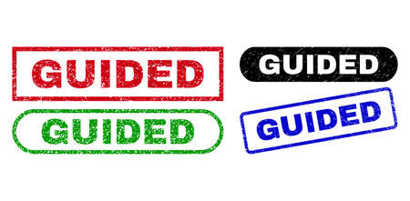 GUIDED grunge seal stamps. Flat vector distress seal stamps with GUIDED text inside different rectangle and rounded forms, in blue, red, green, black color variants. Imprints with grunge style.