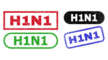 H1N1 grunge watermarks. Flat vector grunge seals with H1N1 phrase inside different rectangle and rounded frames, in blue, red, green, black color versions. Watermarks with grunge style.
