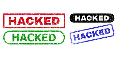 HACKED grunge seals. Flat vector grunge watermarks with HACKED caption inside different rectangle and rounded shapes, in blue, red, green, black color versions. Watermarks with grunge surface.