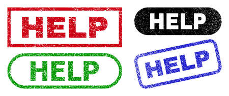 HELP grunge stamps. Flat vector grunge stamps with HELP phrase inside different rectangle and rounded frames, in blue, red, green, black color versions. Rubber imitations with grunge texture.