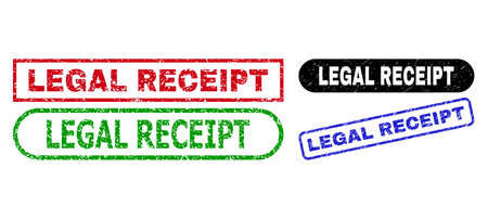 LEGAL RECEIPT grunge watermarks. Flat vector grunge seals with LEGAL RECEIPT caption inside different rectangle and rounded forms, in blue, red, green, black color versions. Stock Illustratie