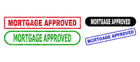 MORTGAGE APPROVED grunge seal stamps. Flat vector grunge seal stamps with MORTGAGE APPROVED tag inside different rectangle and rounded forms, in blue, red, green, black color variants. Stock Illustratie