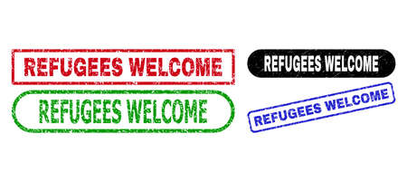 REFUGEES WELCOME grunge stamps. Flat vector grunge seal stamps with REFUGEES WELCOME slogan inside different rectangle and rounded frames, in blue, red, green, black color versions.