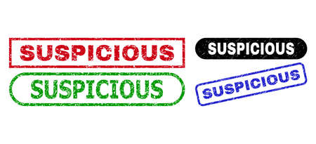 SUSPICIOUS grunge seal stamps. Flat vector grunge stamps with SUSPICIOUS text inside different rectangle and rounded frames, in blue, red, green, black color versions. Imprints with corroded texture.