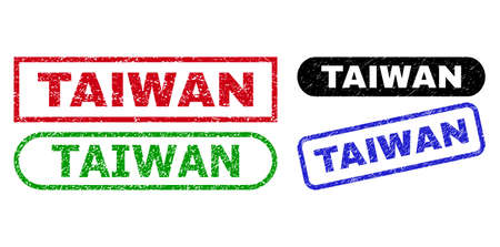 TAIWAN grunge watermarks. Flat vector grunge seals with TAIWAN tag inside different rectangle and rounded shapes, in blue, red, green, black color versions. Watermarks with distress style.