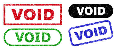 VOID grunge seals. Flat vector distress seals with VOID caption inside different rectangle and rounded forms, in blue, red, green, black color versions. Watermarks with distress style.