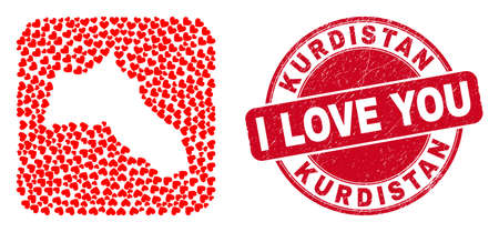 Vector mosaic Kurdistan map of lovely heart items and grunge love stamp. Mosaic geographic Kurdistan map designed as stencil from rounded square shape with love hearts.