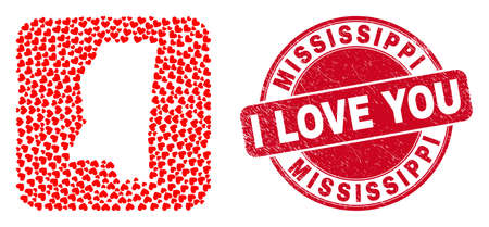 Vector collage Mississippi State map of love heart elements and grunge love seal stamp. 向量圖像