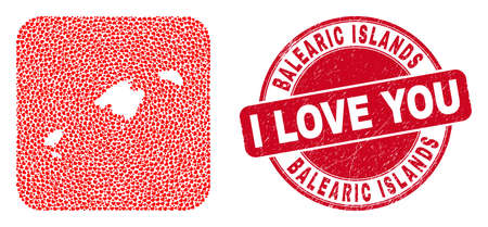 Vector mosaic Balearic Islands map of love heart elements and grunge love stamp. Mosaic geographic Balearic Islands map designed as carved shape from rounded square using love hearts. Vecteurs