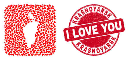 Vector mosaic Krasnoyarskiy Kray map of valentine heart items and grunge love seal. Mosaic geographic Krasnoyarskiy Kray map designed as subtraction from rounded square with lovely hearts.