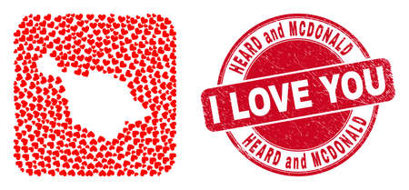 Vector collage Heard and McDonald Islands map of valentine heart elements and grunge love seal.