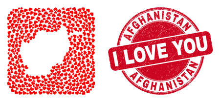 Vector collage Afghanistan map of lovely heart items and grunge love seal stamp. Collage geographic Afghanistan map created as hole from rounded square with lovely hearts.
