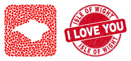 Vector collage Isle of Wight map of love heart items and grunge love stamp. Collage geographic Isle of Wight map constructed as carved shape from rounded square shape using valentine hearts. Vetores