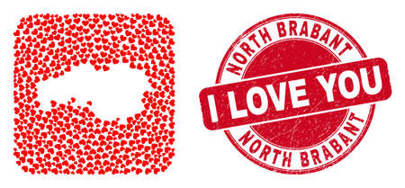 Vector mosaic North Brabant Province map of love heart items and grunge love badge. Mosaic geographic North Brabant Province map designed as stencil from rounded square shape with love hearts. Vectores