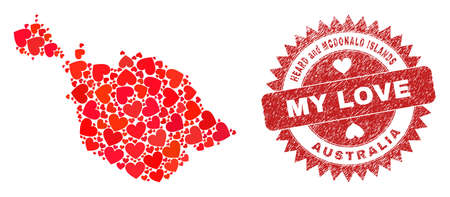 Vector mosaic Heard and McDonald Islands map of valentine heart elements and grunge My Love badge. Mosaic geographic Heard and McDonald Islands map constructed with valentine hearts.