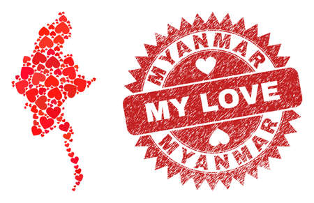 Vector collage Myanmar map of love heart items and grunge My Love seal. Collage geographic Myanmar map designed with lovely hearts. Red rosette seal with grunge rubber texture and my love word.