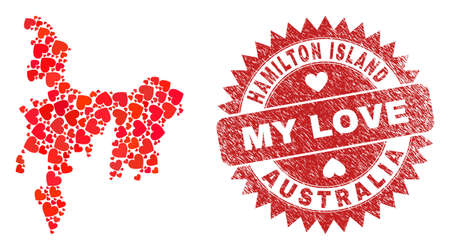 Vector mosaic Hamilton Island map of lovely heart elements and grunge My Love seal stamp. Mosaic geographic Hamilton Island map designed with valentine hearts.