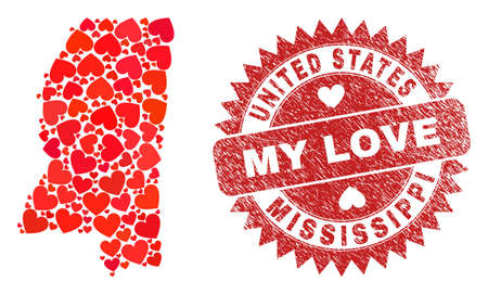 Vector collage Mississippi State map of lovely heart items and grunge My Love badge. Collage geographic Mississippi State map designed with lovely hearts.
