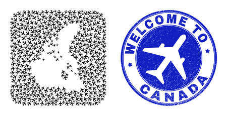 Vector mosaic Canada v2 map of airflight elements and grunge Welcome badge. Mosaic geographic Canada v2 map created as subtraction from rounded square with air vehicles.