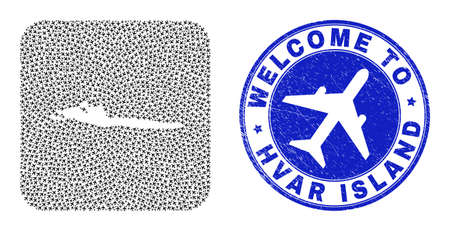 Vector collage Hvar Island map of aircraft elements and grunge Welcome seal. Mosaic geographic Hvar Island map constructed as hole from rounded square with airways.