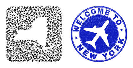 Vector collage New York State map of airplane elements and grunge Welcome seal stamp. Mosaic geographic New York State map designed as carved shape from rounded square shape with airplanes.