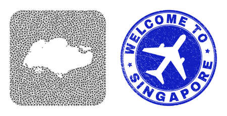 Vector mosaic Singapore map of air shipping items and grunge Welcome badge. Mosaic geographic Singapore map created as stencil from rounded square with air tourism.