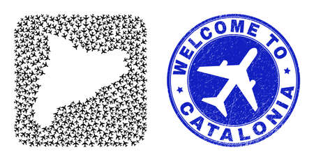 Vector mosaic Catalonia map of airflight items and grunge Welcome badge. Mosaic geographic Catalonia map constructed as carved shape from rounded square shape with airways.