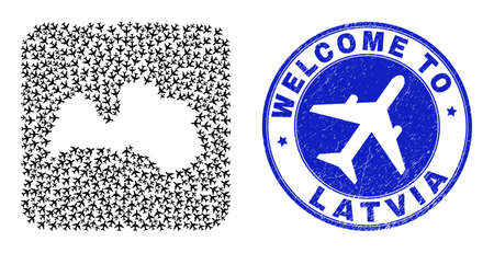 Vector mosaic Latvia map of airways elements and grunge Welcome badge. Collage geographic Latvia map constructed as carved shape from rounded square with air tourism. Ilustración de vector