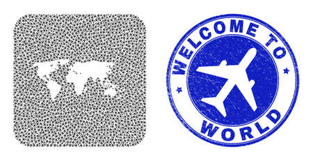 Vector collage world map of airways elements and grunge Welcome stamp. Mosaic geographic world map designed as carved shape from rounded square shape with aircrafts.