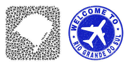 Vector collage Rio Grande do Sul State map of aviation items and grunge Welcome badge.