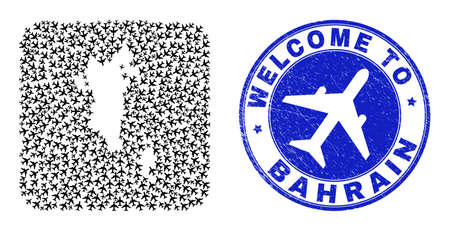 Vector mosaic Bahrain map of air flight items and grunge Welcome seal stamp. Mosaic geographic Bahrain map constructed as stencil from rounded square using air jorneys. Иллюстрация
