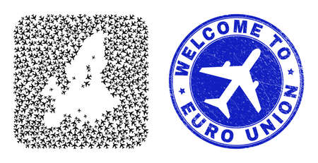 Vector collage Euro Union map of aeroplane items and grunge Welcome seal. Collage geographic Euro Union map constructed as carved shape from rounded square with air tourism.