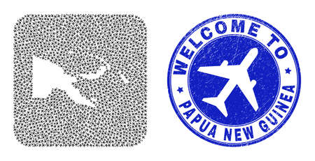Vector collage Papua New Guinea map of air shipping elements and grunge Welcome seal stamp. Collage geographic Papua New Guinea map constructed as subtraction from rounded square with air tourism.