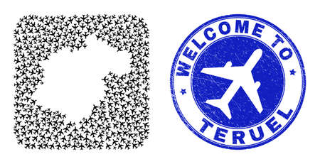 Vector mosaic Teruel Province map of airliner items and grunge Welcome seal stamp. Collage geographic Teruel Province map created as hole from rounded square with air trips.