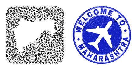 Vector collage Maharashtra State map of air plane items and grunge Welcome seal. Collage geographic Maharashtra State map designed as carved shape from rounded square shape with aviation.