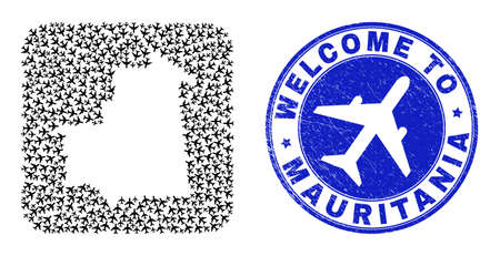 Vector collage Mauritania map of air plane elements and grunge Welcome badge. Collage geographic Mauritania map constructed as carved shape from rounded square shape with airliners.