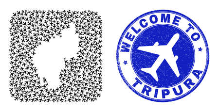 Vector mosaic Tripura State map of airline elements and grunge Welcome seal stamp. Mosaic geographic Tripura State map constructed as carved shape from rounded square shape using airflights.