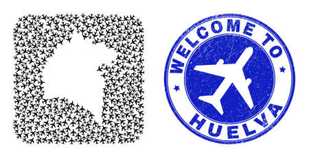 Vector mosaic Huelva Province map of airline items and grunge Welcome seal. Mosaic geographic Huelva Province map designed as stencil from rounded square shape with sky jets.