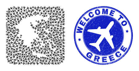 Vector mosaic Greece map of airways elements and grunge Welcome stamp. Mosaic geographic Greece map created as subtraction from rounded square using aviation.
