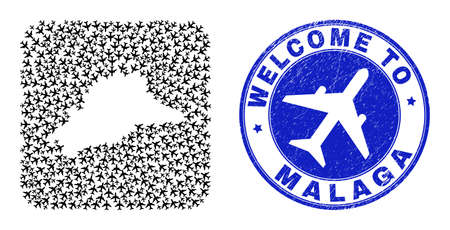 Vector collage Malaga Province map of aviation elements and grunge Welcome badge. Collage geographic Malaga Province map created as hole from rounded square shape with air flights.