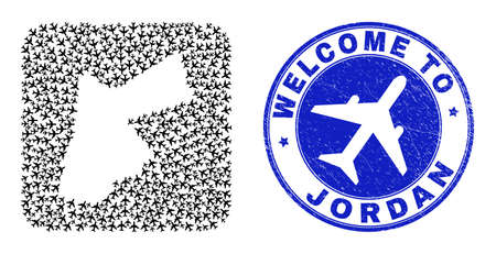 Vector collage Jordan map of tourism elements and grunge Welcome badge. Mosaic geographic Jordan map created as subtraction from rounded square shape with air shippings.