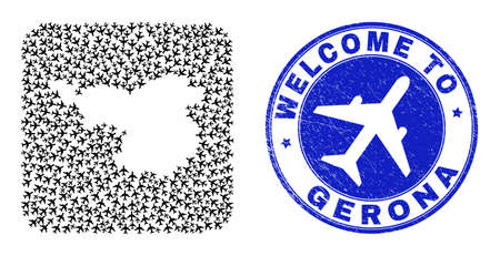 Vector mosaic Gerona Province map of aero elements and grunge Welcome badge. Collage geographic Gerona Province map constructed as hole from rounded square with air flights.