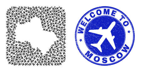 Vector mosaic Moscow Region map of air plane elements and grunge Welcome seal stamp. Collage geographic Moscow Region map designed as carved shape from rounded square shape with air transport.