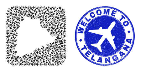 Vector mosaic Telangana State map of jorney items and grunge Welcome stamp. Mosaic geographic Telangana State map constructed as stencil from rounded square shape with airplanes.