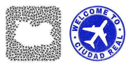 Vector mosaic Ciudad Real Province map of air shipping items and grunge Welcome badge. Mosaic geographic Ciudad Real Province map created as stencil from rounded square with airplanes.