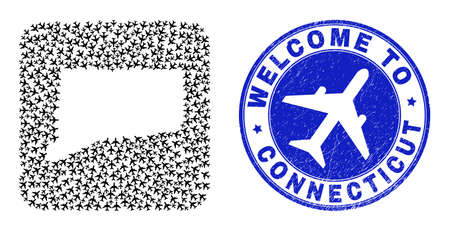 Vector mosaic Connecticut State map of transportation items and grunge Welcome seal. Collage geographic Connecticut State map designed as carved shape from rounded square shape with air trips.