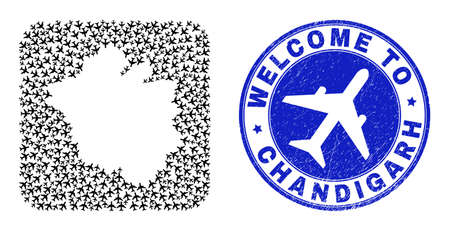 Vector collage Chandigarh City map of air plane elements and grunge Welcome seal stamp. Collage geographic Chandigarh City map designed as hole from rounded square shape with air planes.